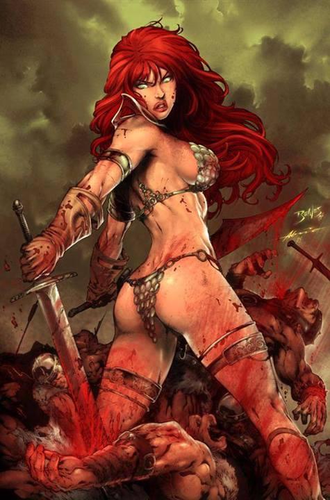 Red Sonja mostrando la típica postura Brokeback